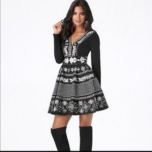 Bebe embroidered taffeta dress 0